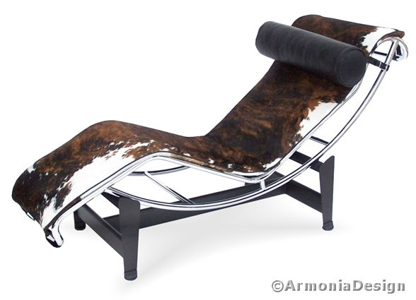 chaise longue lux le corbusier rivestimento pony bianco nero e marrone articolo cha. Black Bedroom Furniture Sets. Home Design Ideas