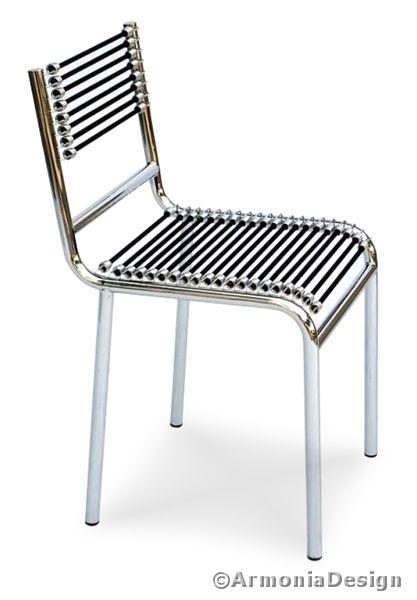 Sedia rene herbst 601 lacci elastici cotone nero 18 for Sedie design furniture e commerce